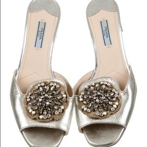 Silver Prada block heel sandals